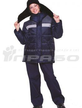 Куртка рабочая утепленная «Эльбрус» женская т.синий/серый