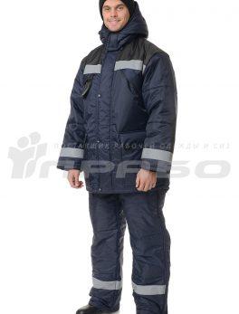 Костюм рабочий утепленный «Эверест» синий/черный