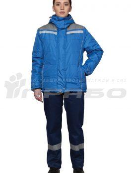 Куртка рабочая утепленная «Онега» женская василек/св-серый
