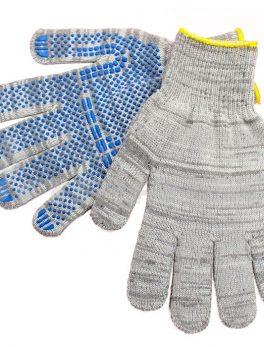 Перчатки «Берёзка» хлопчатобумажные с ПВХ 5-ти нитка (10 класс) «Точка»