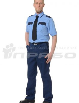 Рубашка охранника короткий рукав голубая/т.синий