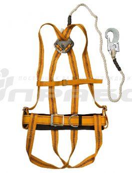 Пояс предохранительный ПП 2 аВЖ с наплечными и набедренными лямками строп полиамидный канат с амортизатором (УСП 2 аВЖ)