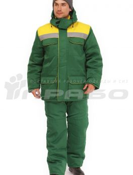 Костюм рабочий утепленный «Буря» зеленый/желтый