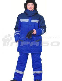 Костюм рабочий утепленный женский «Зима» синий-василек