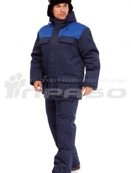 Костюм рабочий утепленный «Буря» темно-синий/василек