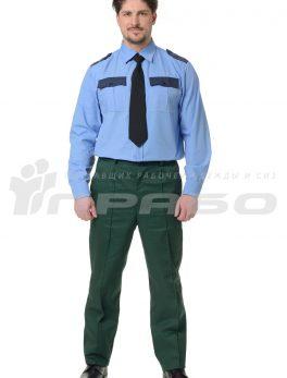 Рубашка охранника длинный рукав голубая/т.синий