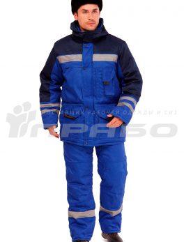 Костюм рабочий утепленный «Зима» васильковый/темно-синий