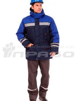 Куртка рабочая утеплённая «Зима» темно-синий / васильковый