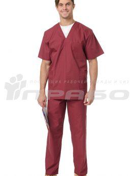 Костюм медицинский хирурга бордовый
