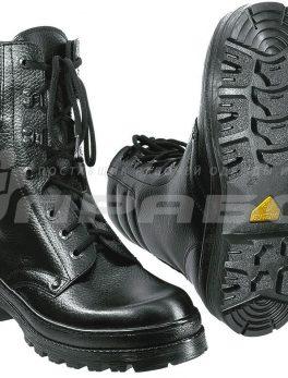"""Ботинки рабочие утепленные иск. мехом кожаные с высоким берцем """"ОМОН-Люкс"""""""