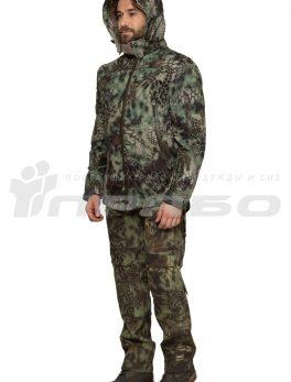 Тактическая куртка софтшелл КМФ Питон лес