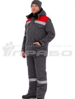 Костюм рабочий утепленный «Мастерок2» серый-красный