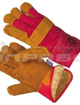 Перчатки спилковые  «Русские львы» комбинированные утепленные (мутон)