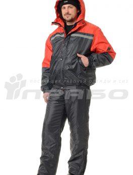 Костюм рабочий утепленный «Стимул» темно-серый/красный